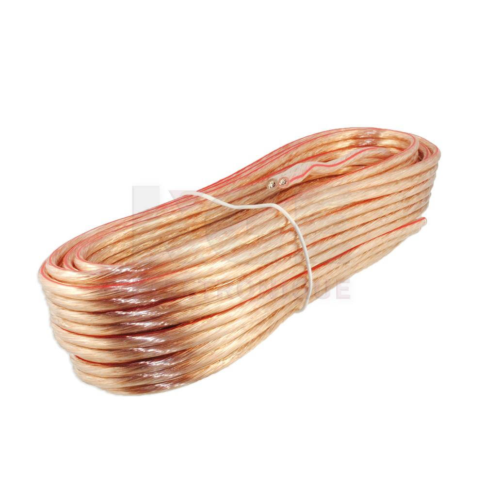 Clear Speaker wire Polarized (red line) 12AWG 25ft - Electronics ...