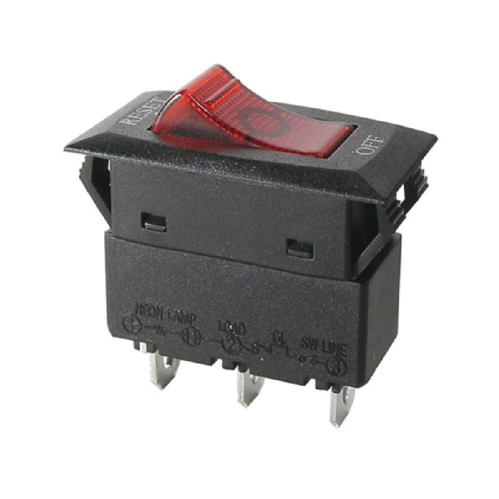 Snap-in mounting circuit breaker/switch (SPST) with neon indicator ...
