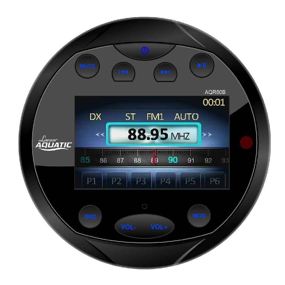 Lanzar 4x28 W Round Aquatic Waterproof Marine Stereo Boat In Dash Radio  Receiver System with Bluetooth - Black or White