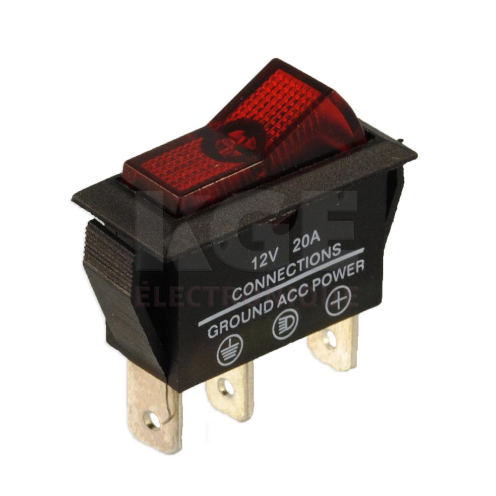 Red Single Pole Illuminated Rocker Switch Spdt With Led 12vdc 20a Toggle Wiring Dpdt Circuit More Electronics Kge Lectronique