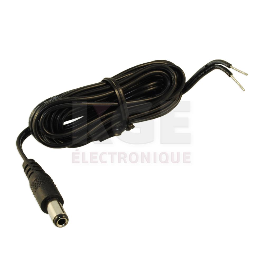 Coaxial Power DC Cable - 2.5 x 5.5 x 11mm Plug to Wire Leads, 6ft ...