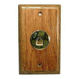 Brown Wood 4C Telephone Wall Plate