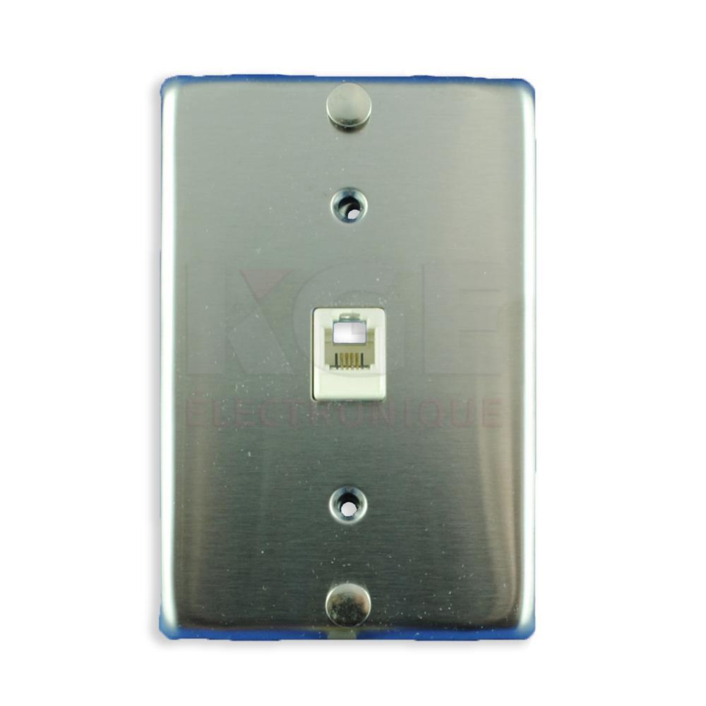 plaque murale de t l phone 4 contacts en acier inoxydable maison kge lectronique. Black Bedroom Furniture Sets. Home Design Ideas